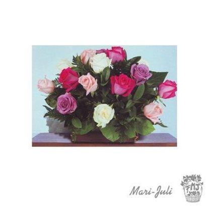 Ref.ESPV4C13.Centro de flores Inmaculada de 16 rosas variadas.