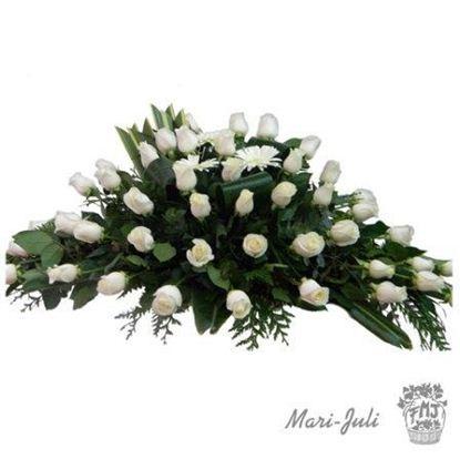 Ref.FMJ1006.Centro de funeral de rosas blancas.