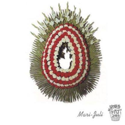 Ref.FMJ0090.Corona Funeraria con colores rojos y blancos.