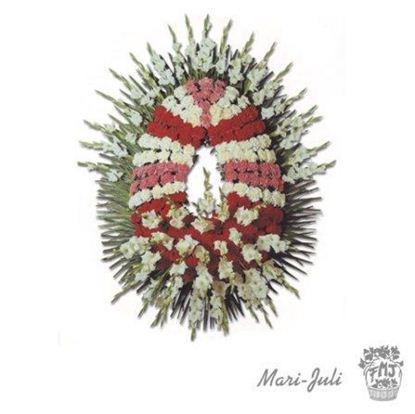 Ref.FMJ0092.Corona Funeraria con colores rojos y blancos y rosados .