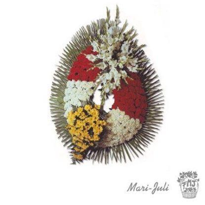 Ref.FMJ0094.Corona Funeraria con colores rojos y blancos y amarillos.