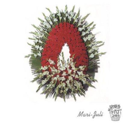 Ref.FMJ0096.Corona Funeraria con colores rojos y blancos.
