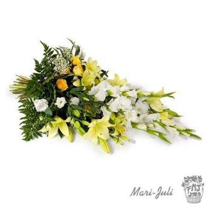 Ref.FMJ0023.Ramo Funerario de Gladiolos en tonalidades verdes y blancos.