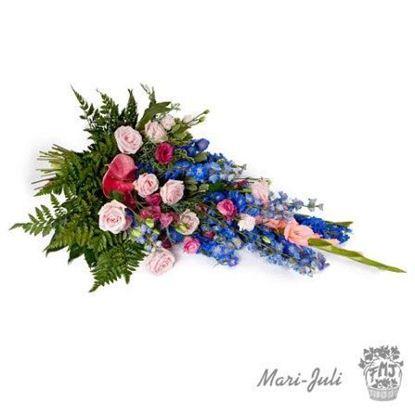 Ref.FMJ0024.Ramo Funerario de en tonalidades rosa y azúl.