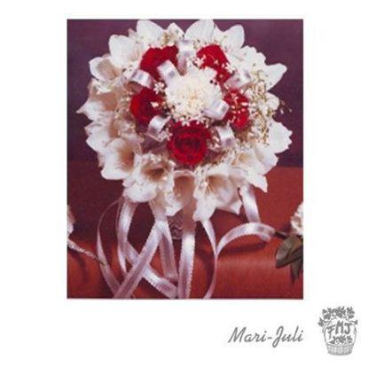 Ref.FMJ0058.Ramo de Novia Bouquet en tonos rojos y blanco.