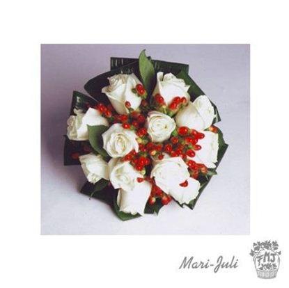 Ref.FMJ0071.Ramo de Novia Bouquet en tonos blancos y rojos.