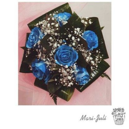 Ref.N0003.Ramo de novia rosas teñidas azules.