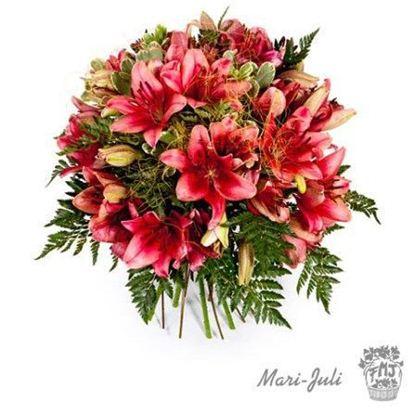 Ramo de Flores Primaverales formal redondo con tonos dominantes naranjas en distintas tonalidades. Ref.FMJ0004
