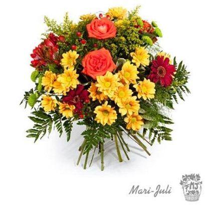 Ref.FMJ0005.Ramo de Flores formal redondo realizado con flores amarillas y naranjas.