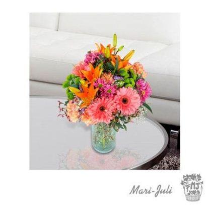 Ref.FMJ0037.Ramo de Flor Primaveral en diversos tonos muy coloridos.