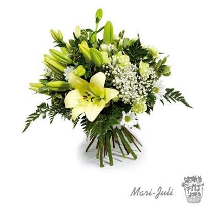Ref.FMJ0038.Ramo de Flor Primaveral en tonos verdes y blancos.