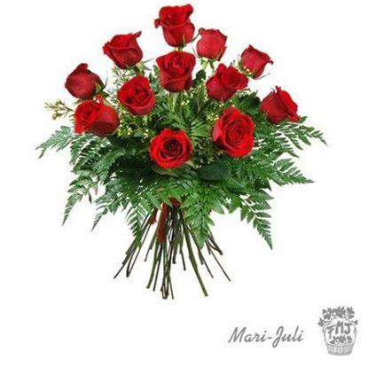 Ref.FMJ0015.Ramo de 12 Rosas Rojas con tallo de 70 cm.