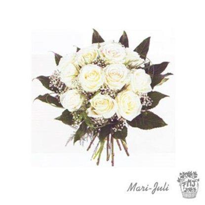 Ref.R0008.Ramo 12 Rosas blancas de tallo 70 cm