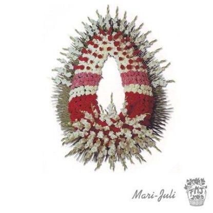 Ref.FMJ0098.Corona Funeraria con tonos rojos y blancos.
