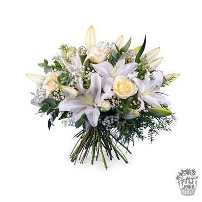 Ref.FMJ0125.Ramo de flores clásicas blancas.