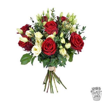 Ref.FMJ0128.Ramo de rosas rojas y lysianthus blanco.