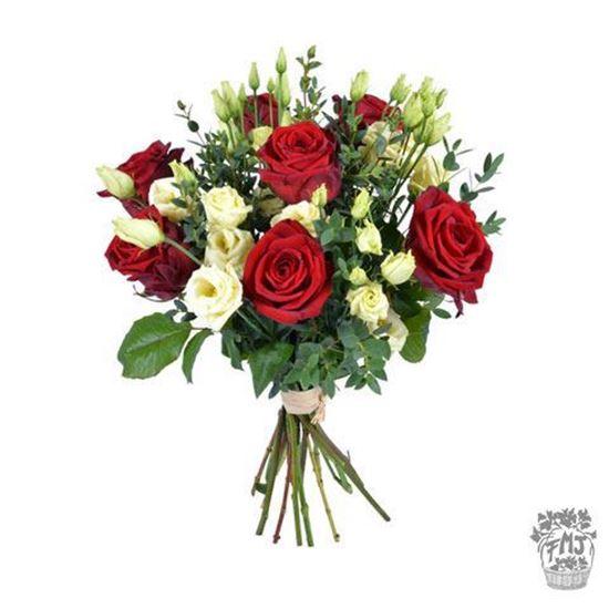 Imagen de  Ref.FMJ0128.Ramo de rosas rojas y lysianthus blanco.